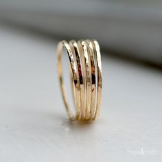 Skinny Gold Stacking Ring Thin Dainty 12K Gold by HOPEandHALO