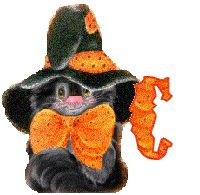 Alfabeto tintineante de gato negro con gorro de bruja. | Oh my Alfabetos!