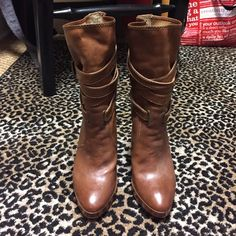 Gorgeous Frye Boots Gorgeous Frye Boots. Harlow Multi Strap. Worn once. Size 7.  Excellent condition. Approximately 4.5 inch heel/half inch platform. Frye Shoes Heeled Boots