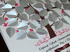 3 layered Birthday Guest Book Tree  Burgundy by WeddingUkraine