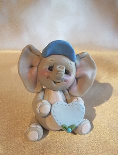 *POLYMER CLAY ~ elephant Christmas ornament Cake Topper personalized polymer clay animal children.