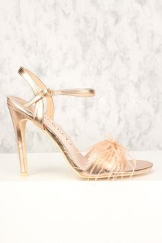Sexy Rose Gold Faux Feather Open Toe Slingback Single Sole High Heels High Heel Pumps, Pumps Heels, Stiletto Heels, Spring Shoes, Summer Shoes, Rose Gold Heels, Prom Shoes, Womens High Heels, Shoes Online