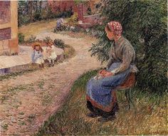A Servant Seated in the Garden at Eragny, 1884 - Camille Pissarro - WikiArt.org