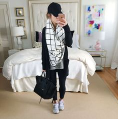 what to wear with leggings, leggings travel outfit, comfy casual outfit leggings and sneakers, denim jacket, babeball cap, celine bag