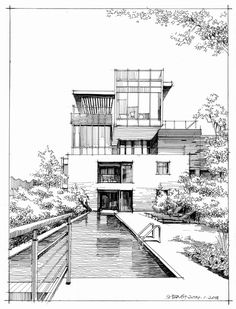 Super house sketch architecture inspiration Ideas Drawing Tips house drawing Interior Architecture Drawing, Architecture Drawing Sketchbooks, Architecture Building Design, Architecture Concept Drawings, House Architecture, Landscape Architecture, Architecture Models, Architecture Portfolio, Security Architecture
