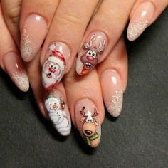 Awsome nail designs will be a highlight of your Christmas holiday. In order to inspire your nail designs, we have collected more than 70 nail art images for the Christmas season. Holiday Nail Art, Christmas Nail Art Designs, Winter Nail Designs, Simple Nail Designs, Christmas Design, Blue Glitter Nails, Red Nails, Snowman Nails, Cute Christmas Nails