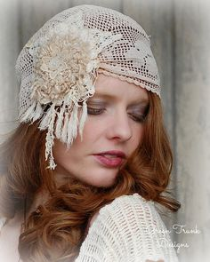Boho Bridal Cap Veil Made of Vintage Lace by GreenTrunkDesigns