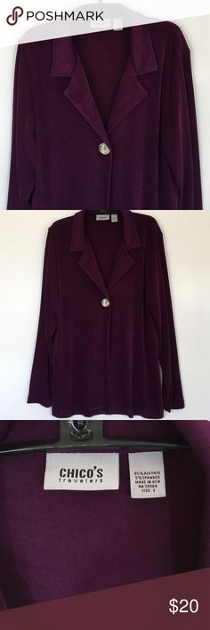 "Beautiful Chico's Travelers Jacket Size 1 In excellent used condition, this Chico's Travelers jacket has no stains or pilling or pulls. A beautiful dark purple/eggplant color. One button closure. 95% acetate and 5% spandex. Measures 20"" across from armpit to armpit and 27 1/2"" long. Please ask questions and use the bundle offer to get a discount on a bundle. This is a Chico's size 1, which is a 8/10. Chico's Jackets & Coats"