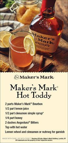 You don't need to be under the weather to feel good sipping this Maker's Mark Hot Toddy. Enjoy the warm, tasteful flavors found in our Hot Toddy recipe today. Christmas Drinks, Holiday Drinks, Party Drinks, Fun Drinks, Yummy Drinks, Holiday Recipes, Beverages, Mixed Drinks, Cocktails