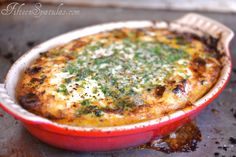 Herbed Baked Eggs, with rosemary, thyme, and parsley.