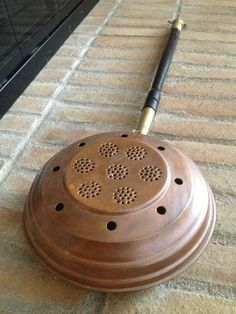 Antique Copper Br Bed Warmer With Wooden Handle Authentic