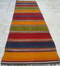 "MULTICOLOR Striped Turkish Kilim Rug Runner,Vintage Handwoven Carpet Runners ,Floor Runner Rug, Colorful Kilim Runner Rug, 29, 5""x101, 2""."