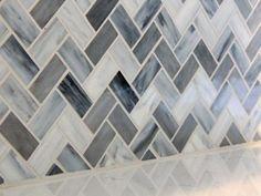 Blue-Gray Chevron Glass Mosaic Backsplash