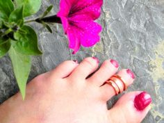 Copper Indian Toe Ring Set, Adjustable Toe Rings by Raadhe Handmade Jewelry