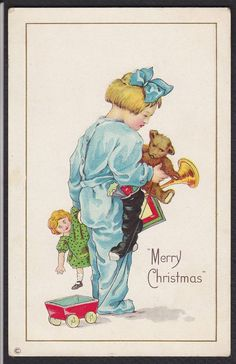 Christmas-Child-Girl-Teddy Bear-Stocking-Doll-Antique Postcard   eBay