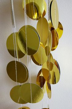 Golden Metallic Paper Circle Garland by VioletCatDecor on Etsy