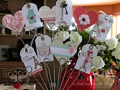 2/9/2012; Nichole Magourik on her blog making Valentine Decor Tags; I love all of her work including her quilting!