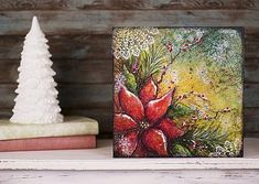 Poinsettia Magic Mixed Media Canvas -- Create this mixed media canvas just in time for Christmas.