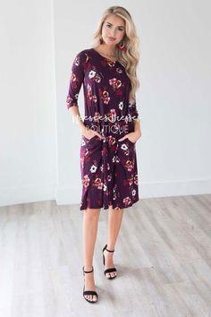 e9ff3a032de Deep Plum Floral Bell Sleeve Swing Dress