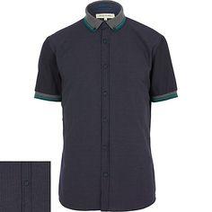 River island - Navy shirt with polka dot collar