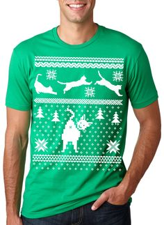 Ugly Christmas Sweater humping Reindeer funny White Elephant t shirt MENS GREEN
