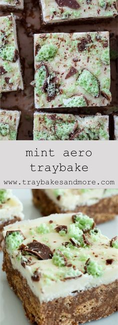 No Bake Mint Aero Traybake! This slice is very easy to make. It has a sweet and minty soft base with added biscuit crunch. Bake Sale Recipes, Tray Bake Recipes, Fun Baking Recipes, Sweet Recipes, Cooking Recipes, Baking Ideas, Kids Baking, Mint Recipes, Sprout Recipes