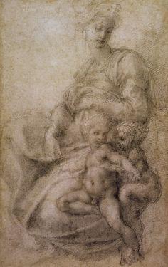 Michelangelo Buonarroti - La Vergine con il Bambino e il Battista infante