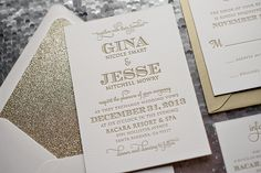 Gold Glitter wedding invitation, typography wedding invitation, letterpress wedding invitation