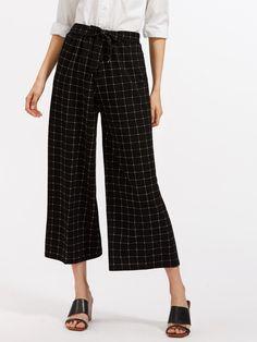 Windowpane Print Tie Waist Wide Leg Pants -SheIn(Sheinside)