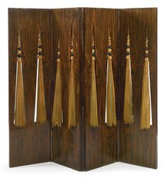 FOUR-PANEL SCREEN * Ernest Boiceau rosewood and silk circa 1925