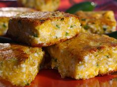 Spicy Polenta Cakes Recipe : Guy Fieri : Food Network - http://www.foodnetwork.com/recipes/guy-fieri/spicy-polenta-cakes.html