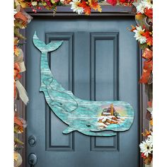 G Debrekht Whale Scenic Beach Sunset Wooden Decorative Door Hanger
