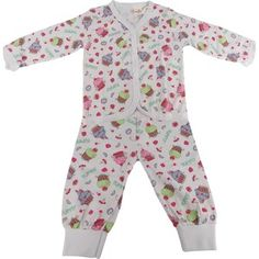 Pijama para Bebê Aberto na Frente Cup Cake