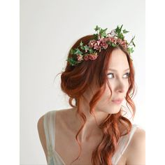 Flower headpiece, pink flower crown, ivy headband, rose headpiece,... (120 CAD) ❤ liked on Polyvore featuring accessories, hair accessories, floral garland, flower crown, ivy garland, head wrap headband and rose flower crown