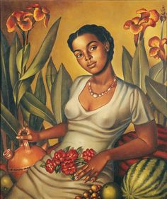 "artwork: Enrique Grau Araujo, ""Mulata Cartagenera"", 1940 - Courtesy of Museo Nacional de Colombia. In ""Caribbean: Crossroads"" at El Museo del Barrio, the Queens Museum of Art & the Studio Museum in Harlem from June until January Art And Illustration, African American Art, African Art, Dom Rep, Arte Latina, Latino Art, Caribbean Art, New York Museums, Black Artwork"