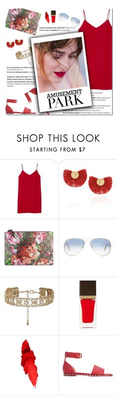 """How to Style a Monochromatic Red Look Using a Red Slip Dress with Red Valentino Studded Sandals, a Gold Choker and Floral Bag for a Day Spent at the Amusement Park"" by outfitsfortravel ❤ liked on Polyvore featuring Balmain, Alexia Ulibarri, Katerina Makriyianni, Gucci, Ray-Ban, New Look, Tom Ford, Maybelline and Valentino"