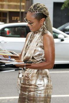 Style File: Jada Pinkett Smith Keeps Shining On Shaved Side Hairstyles, Try On Hairstyles, Box Braids Hairstyles, African Hairstyles, Black Girls Hairstyles, Natural Hair Braids, Tapered Natural Hair, Natural Hair Styles, Short Hair Styles
