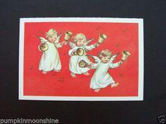 #H307- Vintage Erica Von Kager Brownie Xmas Greeting Card Angels & Hand Bells