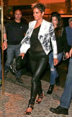Leather Lady from Fashion Spotlight: Halle Berry  No one does leather better than Ms. Berry, as proven by this hot shot of the actress—in black leather skinnies, heels, andaprinted blazer—stepping out for dinner in Rio de Janeiro,Brazil.