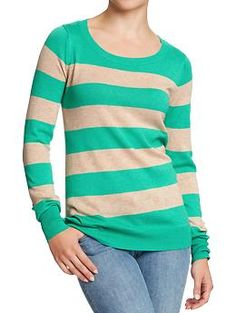 Women's Softest Printed-Crew Sweaters | Old Navy Green Stripe, size small
