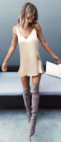 slip dress + over the knee boots
