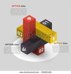 three column infographics data 3d isometric design