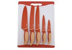 Tabla de cortar + 5 cuchillos revestidos de cerámica: Panero, Cocinero, Cocina, Uso general y Pelador. Color naranja