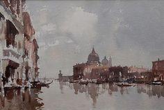Edward Seago (1910 — 1974, UK) On the Grand Canal, Venice. watercolour. 14 x 20 in. (35.6 x 50.8 cm.)