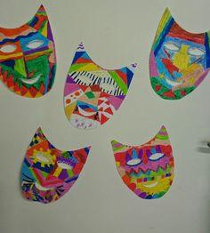 Farsangi álarcok elsősökkel Hallows Eve, Techno, Costumes, Activities, Halloween, Crafts, Good Ideas, Mascaras, Paper Envelopes