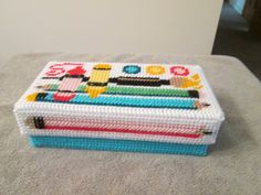 Pencil Box with Lid in plastic canvas by CraftsforSalebyJune on Etsy