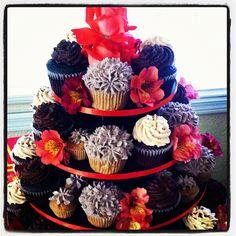 Lavender/Coral/Black Cupcake Tower