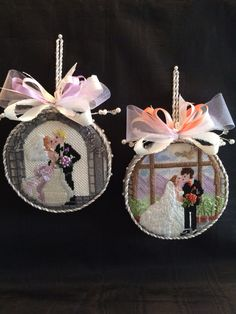 needlepoint wedding ornaments