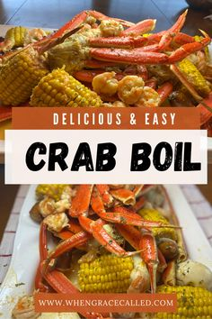 Delicious Spring Crab Boil - When Grace Called Shrimp And Crab Boil, Seafood Boil Party, Seafood Boil Recipes, Crab Stuffed Shrimp, Seafood Dinner, Cajun Recipes, Fish Recipes, Cooking Recipes, How To Boil Crab