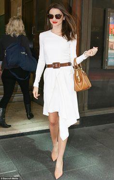 Miranda Kerr. White asymmetrical dress.